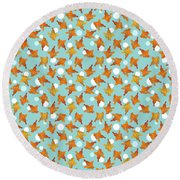 Goldfish And Bubbles Pattern Round Beach Towel by MM Anderson