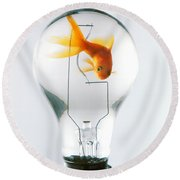 Goldfish In Light Bulb  Round Beach Towel by Garry Gay