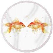 Goldfish Love Watercolor Round Beach Towel by Olga Shvartsur