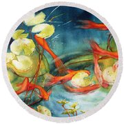Goldfish Pond Round Beach Towel