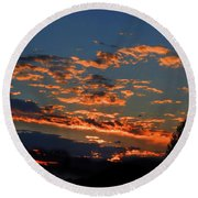 Round Beach Towel featuring the photograph Goldflake Sunset by Mark Blauhoefer