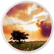 Golds At Sunset After The Rain Round Beach Towel