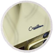 Goldwood Yellow Corvette Round Beach Towel by Dennis Hedberg