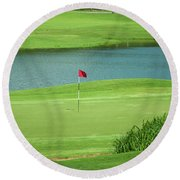 Golf Approaching The Green Round Beach Towel by Chris Flees