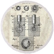 Golf Ball Patent Drawing Vintage 2 Round Beach Towel