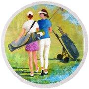 Golf Buddies #1 Round Beach Towel by Betty M M Wong