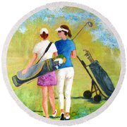 Golf Buddies #1 Round Beach Towel