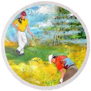 Golf Buddies #2 Round Beach Towel
