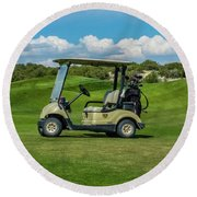 Golf Cart Round Beach Towel