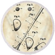 Golf Club Patent 1909 - Vintage Round Beach Towel