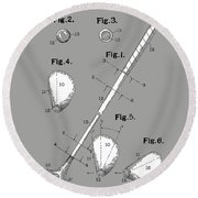 Golf Club Patent Drawing Grey Round Beach Towel