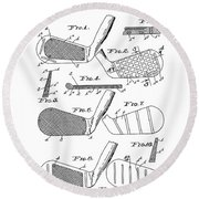 Golf Club Patent Drawing White 3 Round Beach Towel