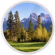Golf Course In The Mountains Round Beach Towel by Keith Boone