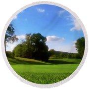 Golf Course Landscape Round Beach Towel