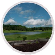 Golf Course The Back 9 Round Beach Towel by Chris Flees