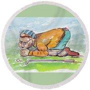 Golfer With Hot Air Round Beach Towel