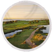 Golfing At The Gong II Round Beach Towel