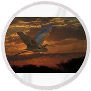 Goliath Heron At Sunset Round Beach Towel