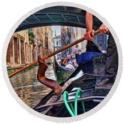 Round Beach Towel featuring the photograph Gondola 2 by Allen Beatty