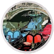Gondolas Fresco  Round Beach Towel by Mindy Newman