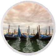 Gondolas In Venice Round Beach Towel by Melanie Alexandra Price