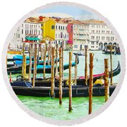 Gondolas On The Grand Canal Venice Italy Round Beach Towel