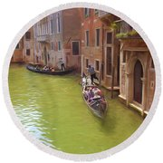 Gondoles In Venice Italy Round Beach Towel by George Robinson