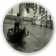 Gondolier In Venice   Round Beach Towel