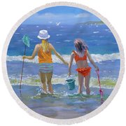 Gone Fishing  Round Beach Towel by William Ireland