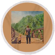 Gone Fishing With Dad Round Beach Towel