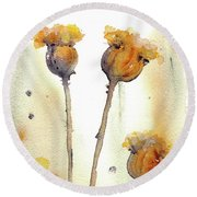 Round Beach Towel featuring the painting Gone To Seed by Dawn Derman