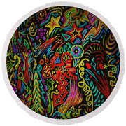 Round Beach Towel featuring the painting Gone Wild by Kevin Caudill
