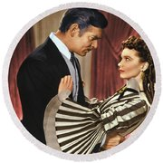 Gone With The Wind - 1939 - Completely Retouched In Color Round Beach Towel