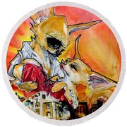 Gone With The Wind Chihuahuas Caricature Art Print Round Beach Towel