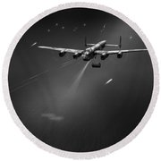 Round Beach Towel featuring the photograph Goner From Dambuster J-johnny Bw Version by Gary Eason