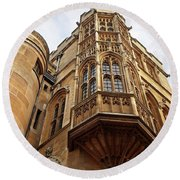 Round Beach Towel featuring the photograph Gonville And Caius College Library Cambridge by Gill Billington