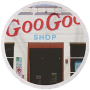 Round Beach Towel featuring the photograph Goo Goo Shop- Photography By Linda Woods by Linda Woods