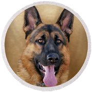 Good Boy Round Beach Towel by Sandy Keeton