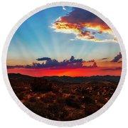 Round Beach Towel featuring the photograph Good Evening Arizona by Rick Furmanek