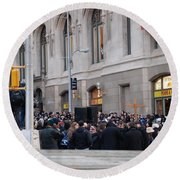 Round Beach Towel featuring the photograph Good Friday On Trinity Place by Rob Hans