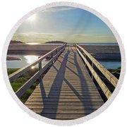 Good Harbor Beach Footbridge Sunny Shadow Round Beach Towel
