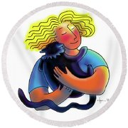 Good Luck Kitty Round Beach Towel