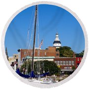 Good Morning Annapolis Round Beach Towel by Edward Kreis