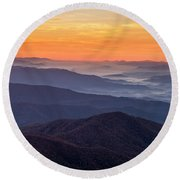 Good Morning Clingmans Dome In The Smokies Round Beach Towel
