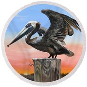 Good Morning Florida Round Beach Towel