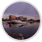 Round Beach Towel featuring the photograph Good Morning Harbor by Joel Witmeyer