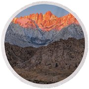 Good Morning Mount Whitney Round Beach Towel