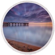 Round Beach Towel featuring the photograph good morning Mr. Sun   by Edward Kreis