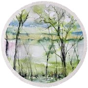 Good Morning On Da Bayou Faciane Round Beach Towel by Robin Miller-Bookhout