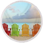 Good Morning Paradise 0746 Signed Round Beach Towel